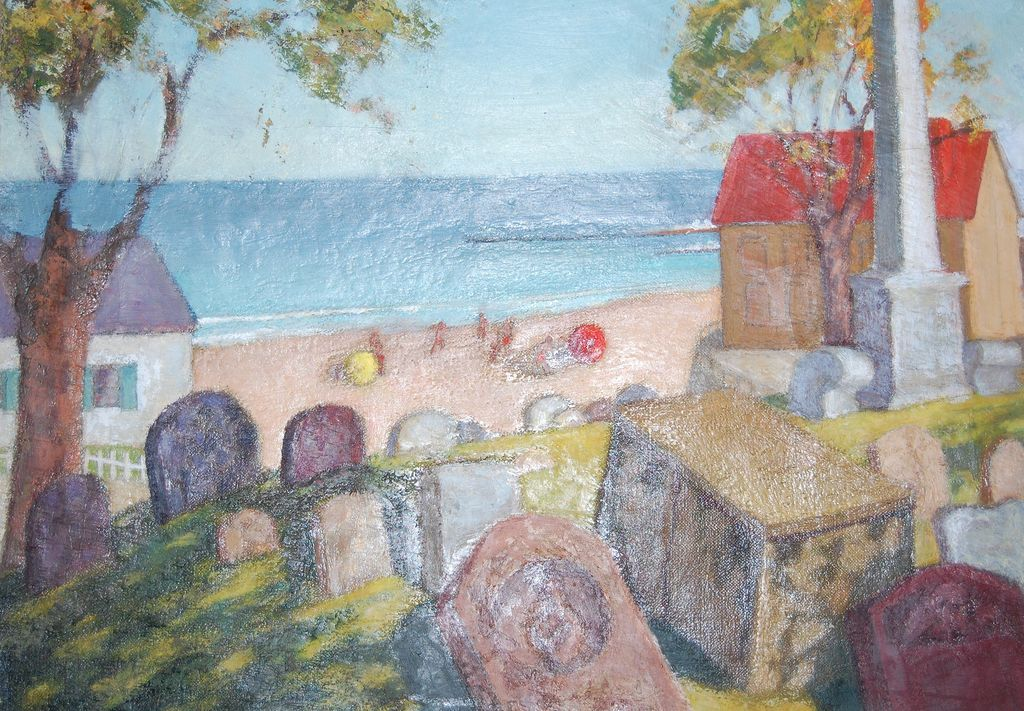 Early Modern Art Cemetery W Children O C Painting From