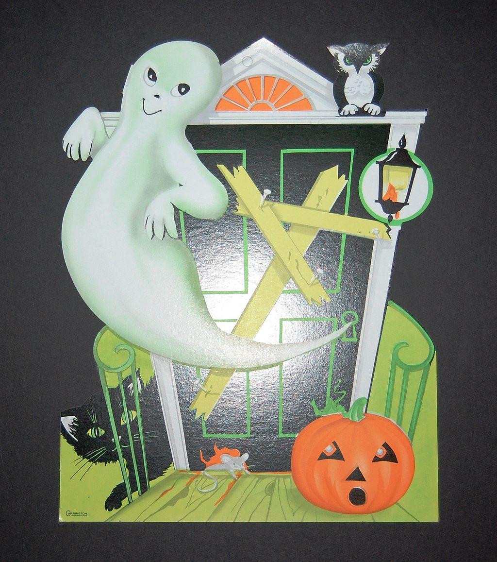 1960s Halloween Ghost & Haunted House Die-Cut