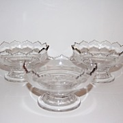 Early American Pressed Glass Pedestal Ice Cream Dishes ~ Set of 3
