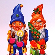 1960s Large Christmas Gnome Die-Cut Scrap