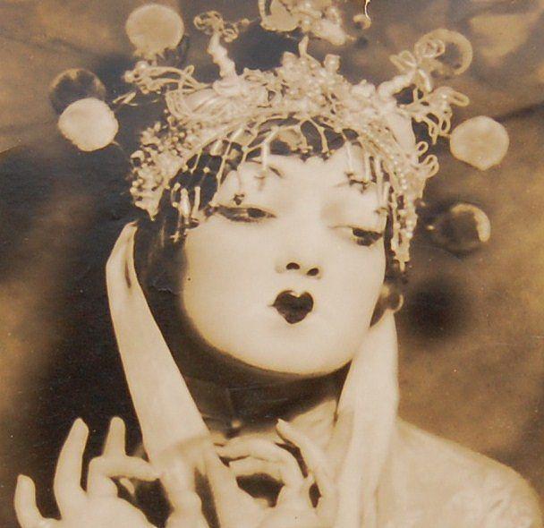 "1920s Theatrical Geisha Original Studio Portrait ~ 8.25 X 12.5"""