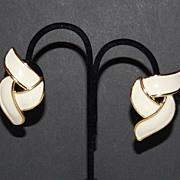 1980s Premier Designs ~ Cream Enamel Clip Earrings