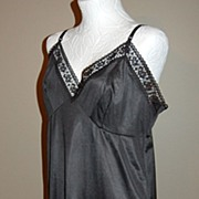 1970s Wondermaid ~ Black Lace Full Slip