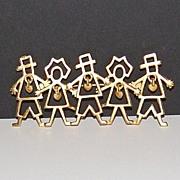 SALE 1980s AJC ~ Boys & Girls w/ Dangling Hearts Goldtone Pin/Brooch