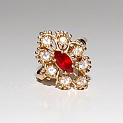 SALE 1960/70s CCI ~ Ruby Red Rhinestone Cocktail Ring