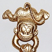SALE Vintage Goldtone Articulated Monkey Pin