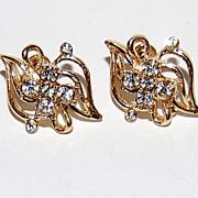 1950s Clear Rhinestone & Goldtone Screwback Earrings