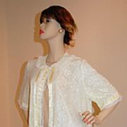 1950s Odette Barsa ~ Yellow Nylon Lace Peignoir Robe