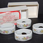 SALE Andrea by Sadek Set of 4 White Porcelain Floral Design Napkin Rings in Original Box