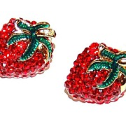 SALE 1980s Red Rhinestone Strawberry Enamel Earrings