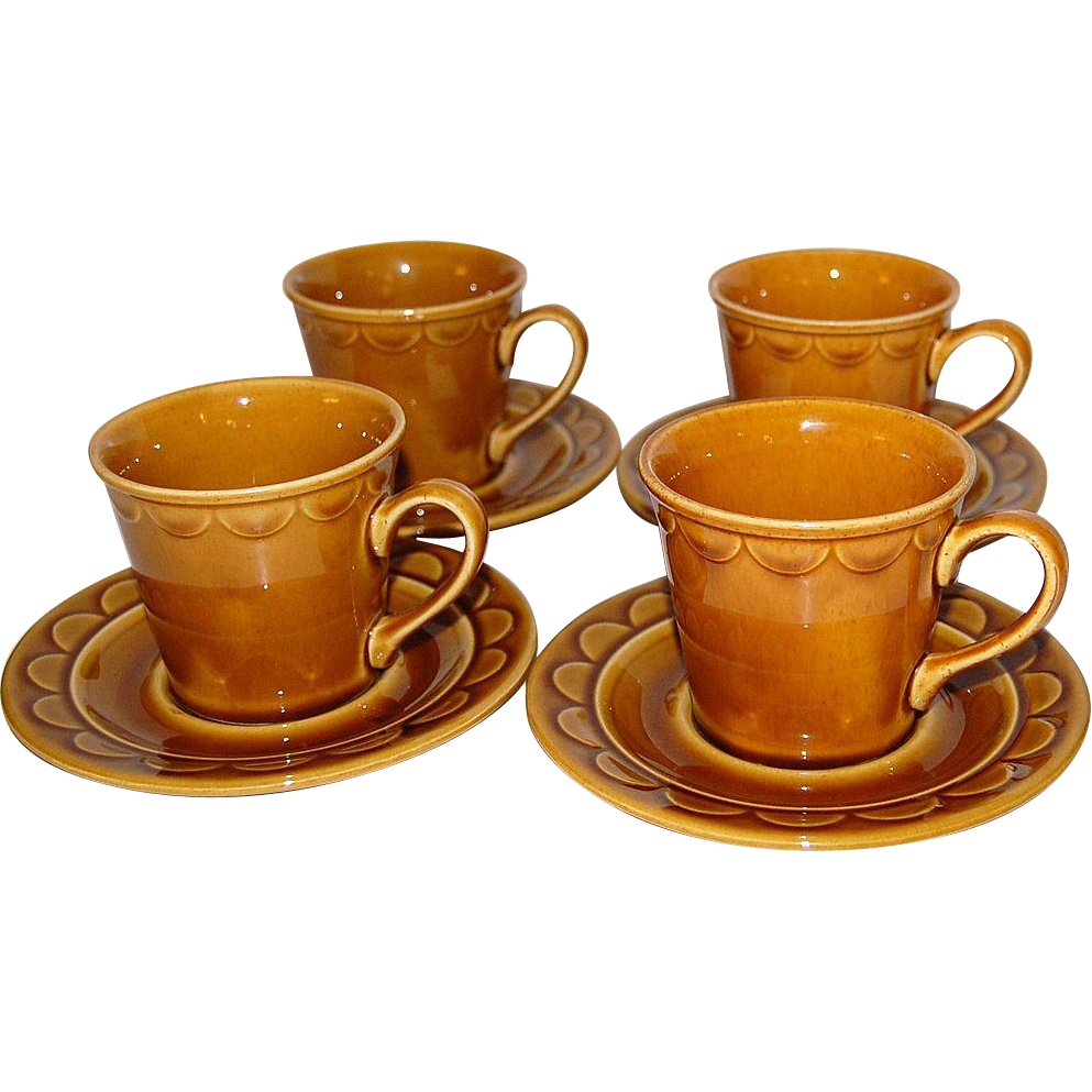 1970s Homer Laughlin ~ Golden Harvest Cups & Saucers ~ Set of 4