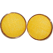 SALE Large Sunny Yellow Fabric Pierced Earrings