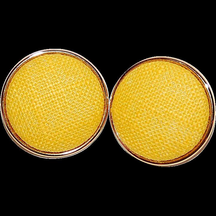 Large Sunny Yellow Fabric Pierced Earrings