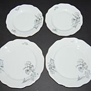 1950s Haas & Czjzek ~ Porcelain Floral ~ 2 Salad & 2 Cake Plates
