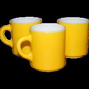 SALE 1960s Fire King ~ Set of 3 Lemon Yellow Milk Glass Mugs