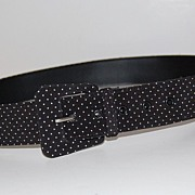 1980s Asymmetric Buckle ~ B&W Polka Dot Fabric Belt