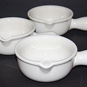 SALE Set of 3 Hall Pottery White Ceramic Soup Bowls #644