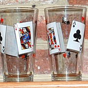 1970s King & Queen Card Glasses ~ Set of 4