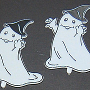 VTG Set of 10 Halloween Ghost & Moon Cupcake Toppers