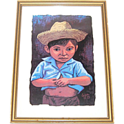 SALE 1973 Luis Cajiga Little Boy in Straw Hat Serigraph Framed Art Print