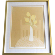 SALE Titled 'Sunday Afternoon' by Artist Perkinson Yellow Tulip Flowers in Vase Signed/Numbere