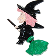 SALE 1960/70s Halloween Flying Witch Cake Topper