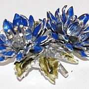 SALE 1950s CORO ~ Blue & Green Enamel Flower Pin/Brooch