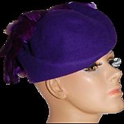 SOLD Michael Howard ~ Purple Wool & Feather Hat