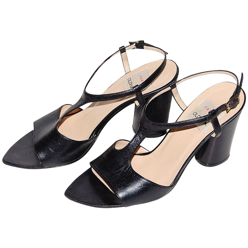 1980s Todd Oldham ~ T-Strap Black Leather Oval Heel Shoes