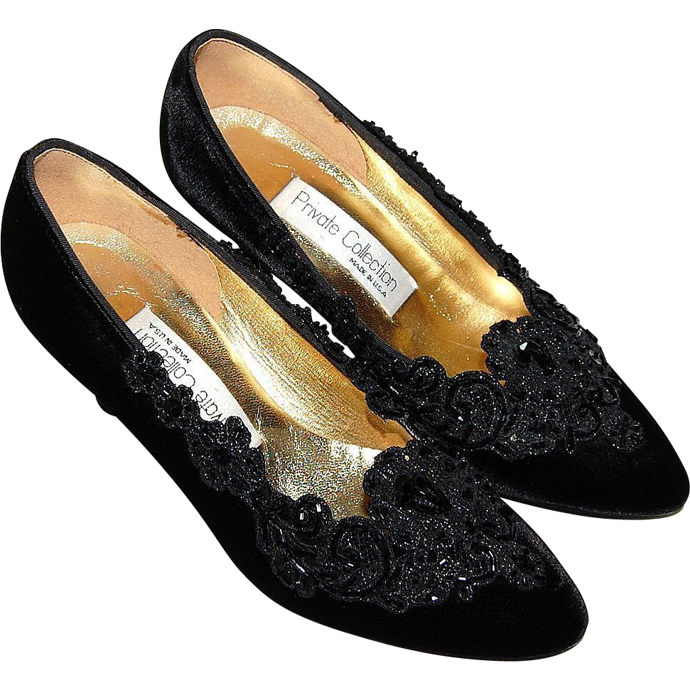 1980s Private Collection ~ Beaded Black Velvet Heels