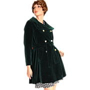 1960/70s Main Street ~ Forest Green Velvet Peacoat