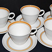 1960s Franciscan Pickwick ~ 10 Pc Cup/Saucer Set