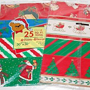 1970/80s Christmas Gift Wrap ~ 8 Designs ~ Made in USA