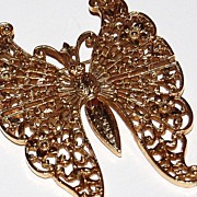 1950/60s HUGE Brass Filigree Butterfly Pin/Brooch