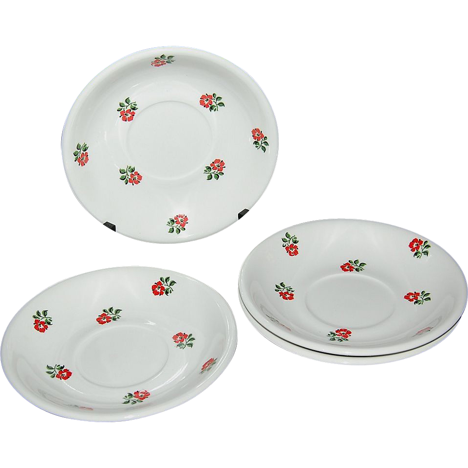 1920s Ditmar-Urbach ~ Set of 4 Handpainted Rose Saucers