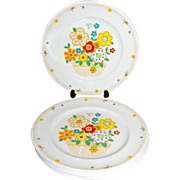 SALE 1970s Noritake ~ Set of 4 Crazy Quilt Dinner Plates