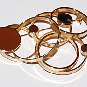 SALE Vintage Modernist Concentric Circle Goldtone Brooch/Pin