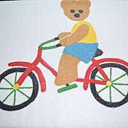 1980s Springmaid ~ Teddy Bear on Bicycle Bath Towel