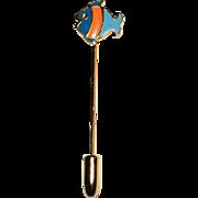 SALE Cute 1960s Orange & Blue Enamel Stripe Fish Stick Pin