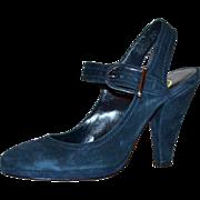 1970/80s Delman ~ Blue Suede Buckle Platform Heels