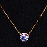 SALE Vintage Millefiori Glass Pendant Necklace