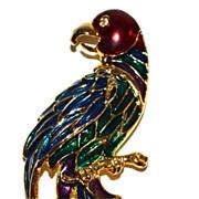 1980s Enamel & Rhinestone Parrot Brooch/Pin