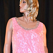 SALE 1960/70s Stavropoulos ~ Pink Chiffon & Chenille Beaded Gown