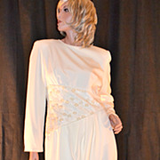 SALE 1980s Rina di Montella ~ Cream Faux Pearl & Sequin Dress