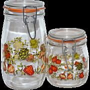 SALE 1970s Set of 2 Glass Kitchen Canister Jars ~ France