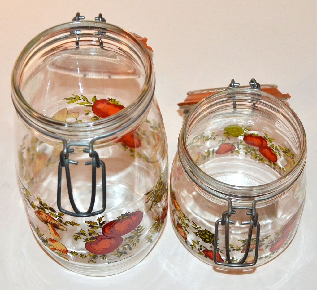 Glass kitchen canisters - 1970s Set Of 2 Glass Kitchen Canister Jars France From 1970s Set Of 2 Glass Kitchen