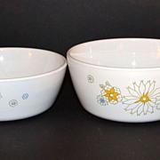 1970s Corning ~ Set of 2 Floral Bouquet Sauce Pans