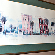 "SALE 1988 Signed ""Charleston's Jewels on East Battery"" Framed Art Print"