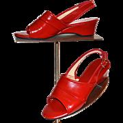 1970s Daniel Green ~ Cherry Red Slip-On Wedge Heels