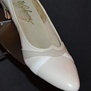 1970s Johansen ~ Taupe/White Snakeskin Heels